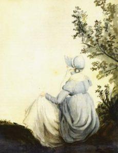 Джейн Остін на акварелі Касандри Остін, її сестри, 1804.